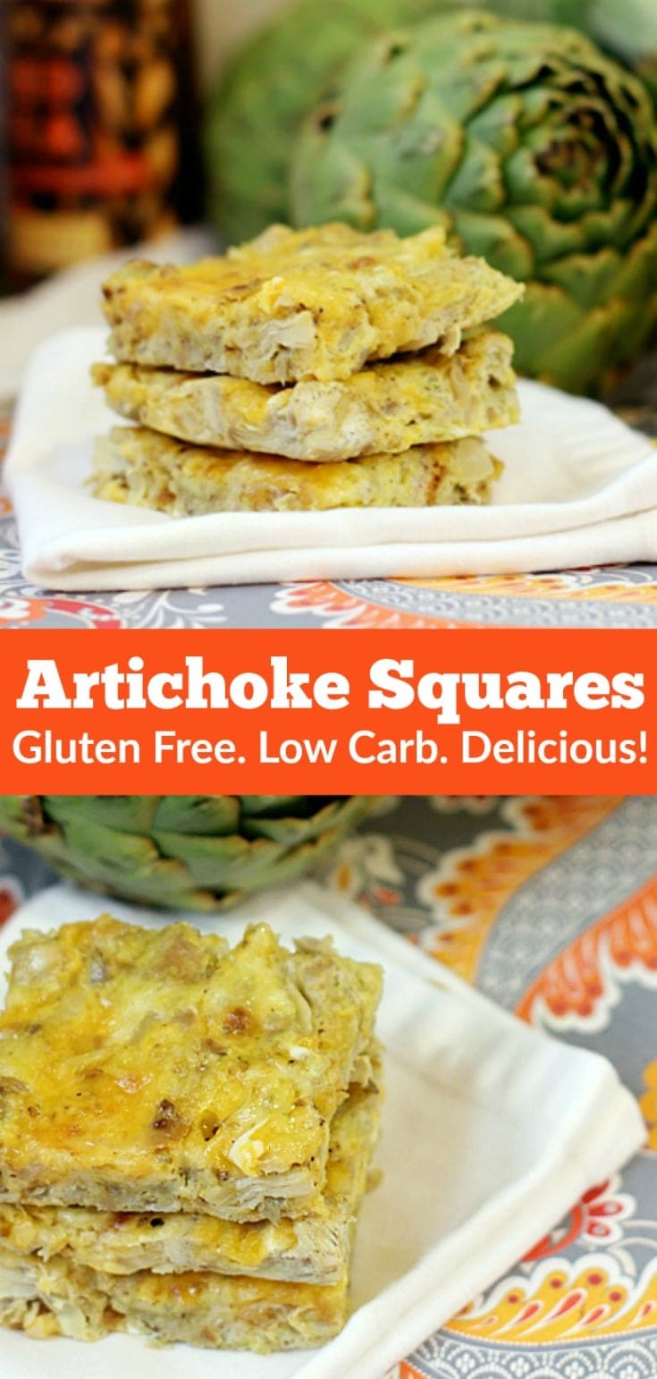 These cheesy artichoke squares are low carb, gluten free, and absolutely delicious! Serve them with a salad for lunch or dinner, or with fruit on the side for breakfast. They're also perfect to serve as an appetizer or snack-I promise you, everyone will devour them!