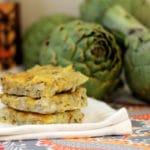 Gluten Free Artichoke Squares on a White Napkin