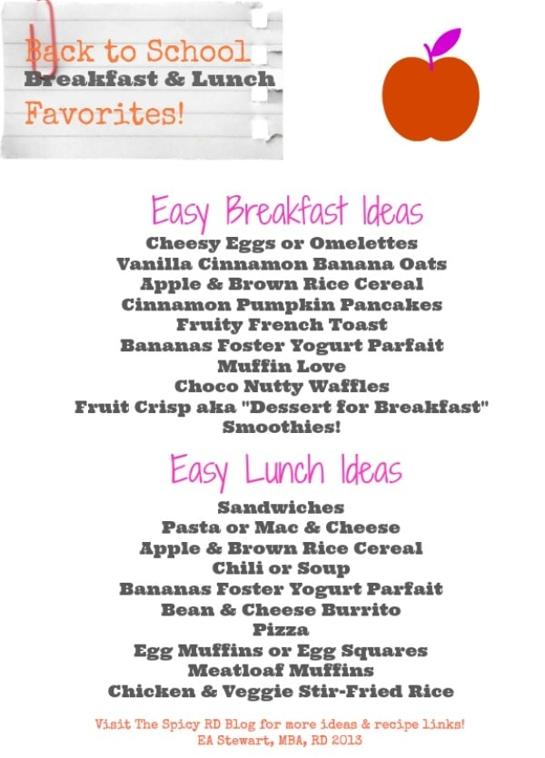 Back-to-School Breakfast & Lunch Favori