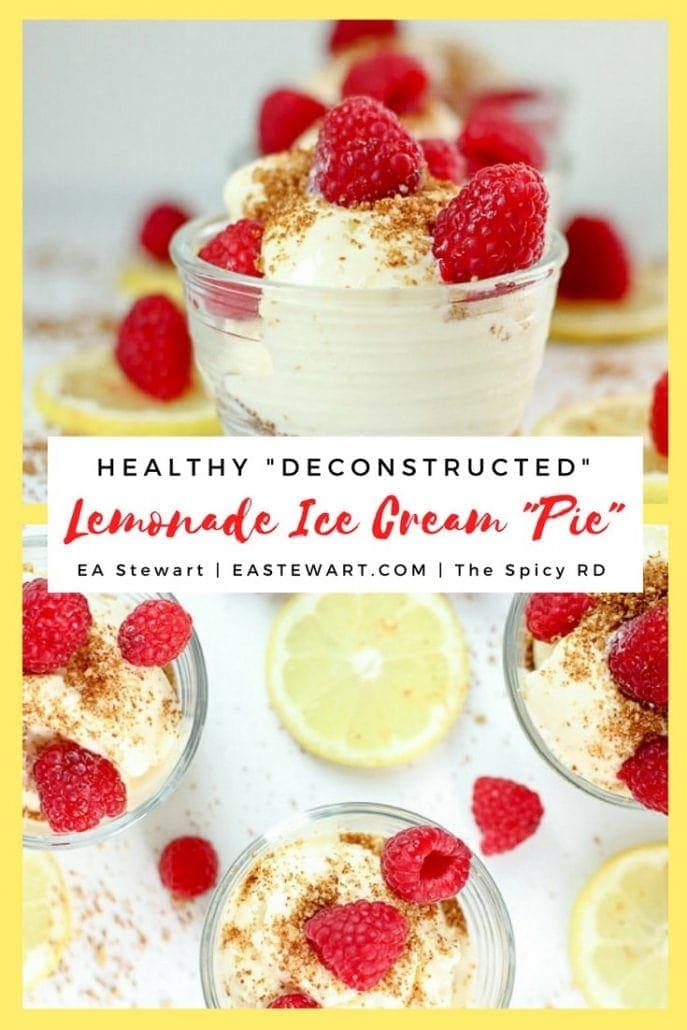 lemonade pie recipe with bowls of lemon ice cream, raspberries, and gluten free cookie crumbles + tate's bake shop gluten free ginger cookies