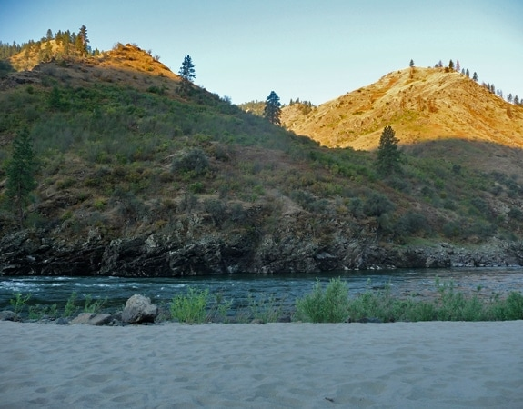 Idaho whitewater rafting trip-view from the beach