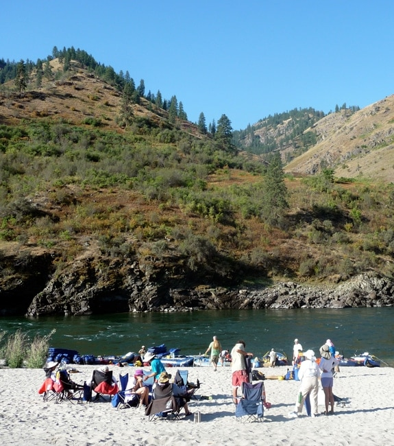 Idaho whitewater rafting trip-hanging out on the shore of the Salmon river