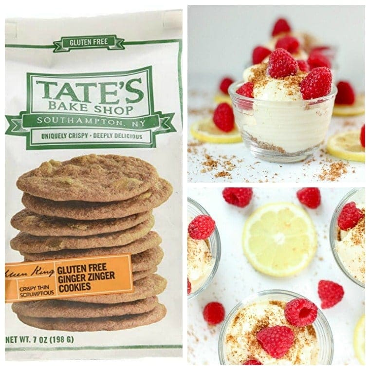 tates ginger gluten free cookies + deconstructed lemonade pie in bowls