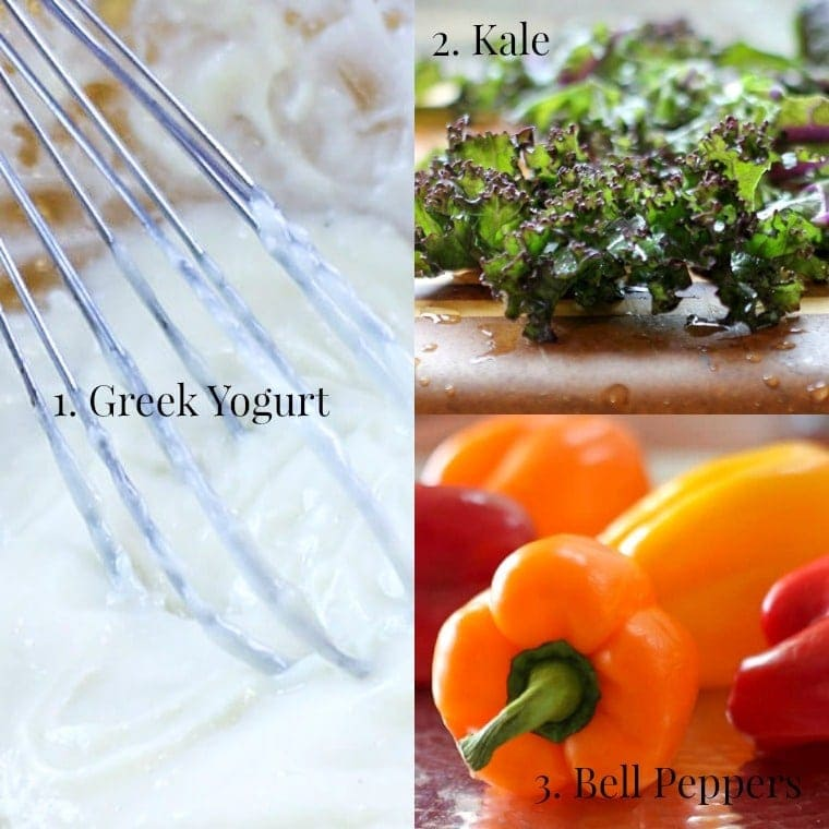 Healthy veggie dip with Greek yogurt collage with kale and bell peppers