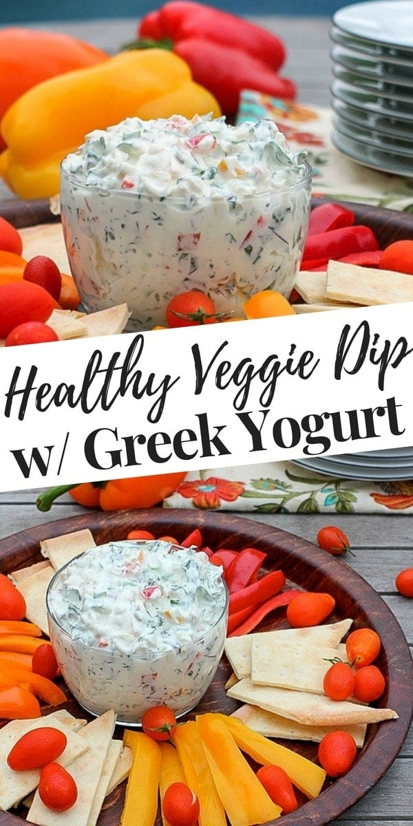 This easy, creamy veggie dip with Greek yogurt, kale, and bell peppers is a healthy twist on the ever popular spinach dip. Serve it with vegetables and gluten free pita for a nourishing snack, or yummy appetizer at your next party.