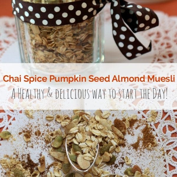 This easy Chai Spice Pumpkin Seed Almond Muesli is a healthy and delicious way to start the day! | Recipe is gluten free, vegan | The Spicy RD www.eastewart.com