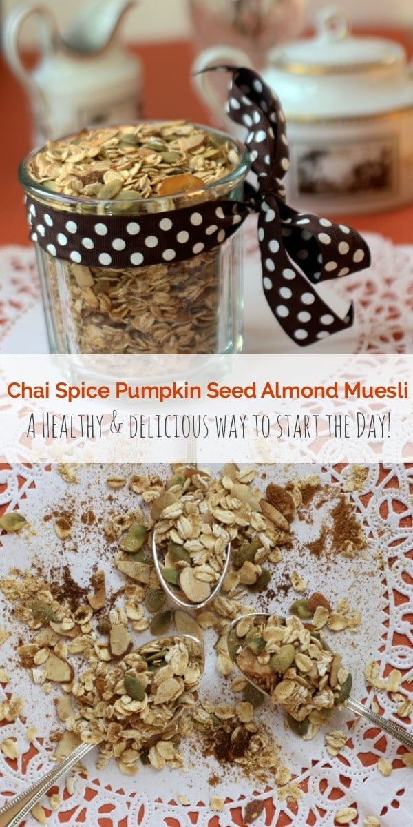 This easy Chai Spice Pumpkin Seed Almond Muesli is a healthy and delicious way to start the day! || The Spicy RD