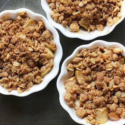 Gluten Free Apple Crisp in white ramekins