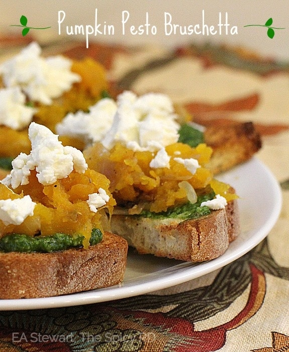 Pumpkin Pesto bruschetta with Goat Cheese