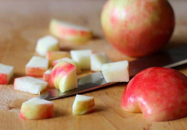 honey crisp apple, whole and chopped