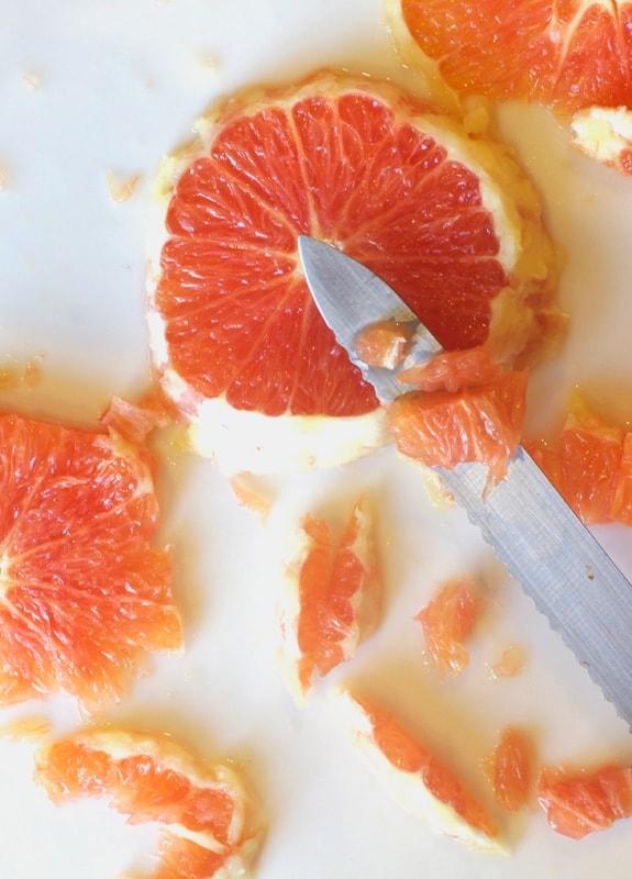 slicing cara cara oranges for orange salsa