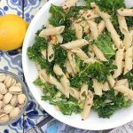 Lemony Kale Pasta Salad with Pistachio Nuts