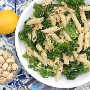 Lemony Kale Pasta Salad with Pistachio Nuts