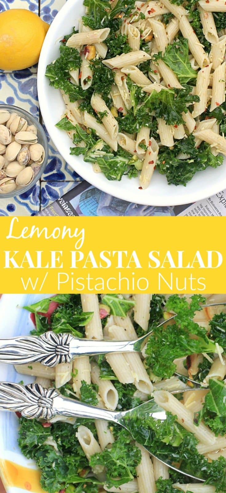 This Lemony Kale Pasta Salad with Pistachio Nuts is super simple to make, and packed with flavor. Make it with your pasta of choice ~ gluten free, grain free, or legume based for a nutritious boost of protein and fiber. So delicious! #glutenfree #vegetarian #meatlessmonday #pastasalad #kale