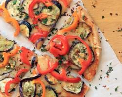 Gluten-free Cheddar, Bell Pepper, Eggplant, & Herb Pizza #sponsored