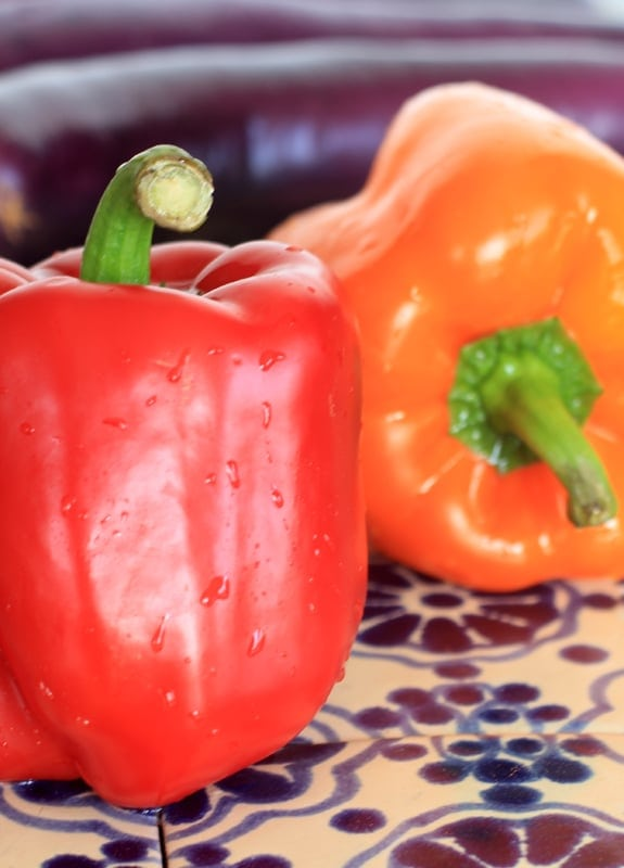 bell peppers and eggplant