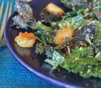#greenslove: Peppery Kale Caesar Salad with Homemade Croutons