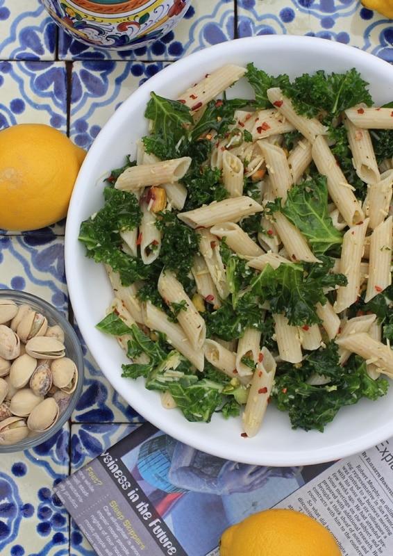 lemony kale past and pistachio salad