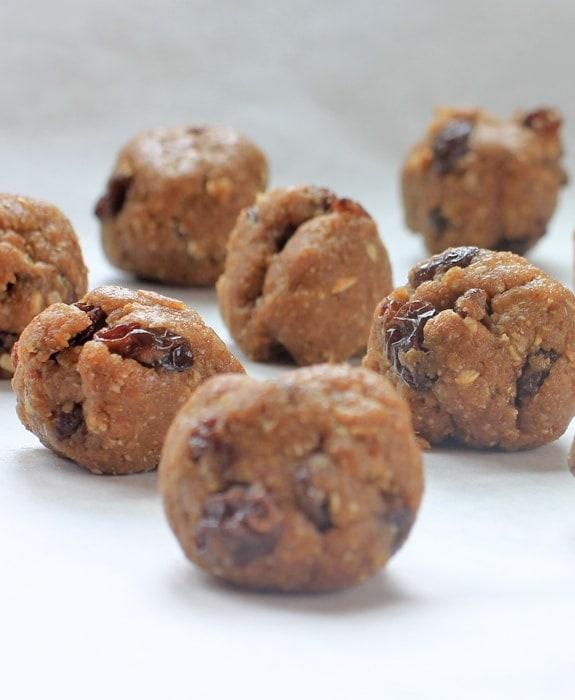 cinnamon maple pecan cookie dough balls