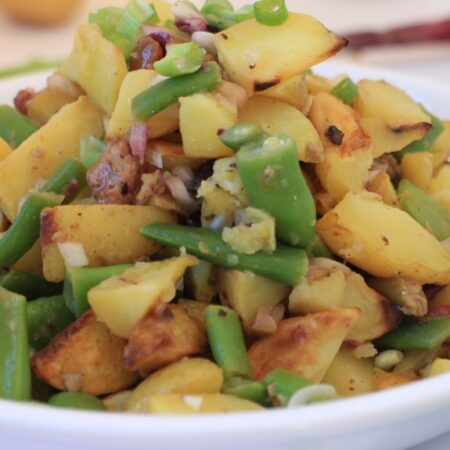 Roasted Potato Salad Nicoise with Green beans, Onions, and Olives