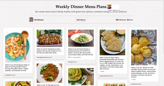 pinterest weekly menu plan