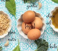 kale, basil, eggs, garlic, pine nuts, olive oil