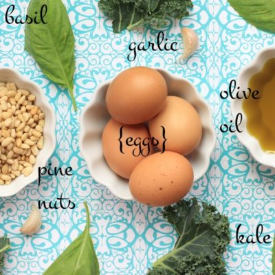 kale, basil, eggs, garlic, pine nuts, olive oil