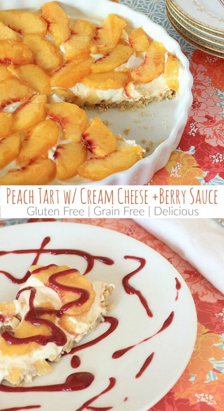 So delicious, and just a little bit healthy too! Gluten Free Peach Tart with Cream Cheese, Berry Sauce, and Cinnamon Almond Crust   Recipe @thespicyrd is also grain free and vegetarian. Yum!