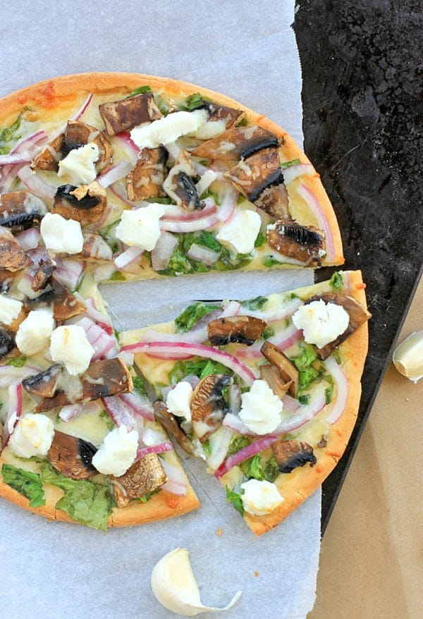Quick and Easy Goat Cheese Pizza with Spinach, Mushrooms, and Onions on a Gluten Free Crust. | Healthy Vegetarian Recipe