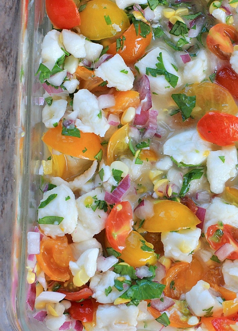 Halibut Ceviche with Summer Sweet Corn and Cherry Tomatoes