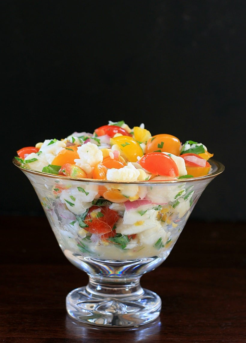 So easy and delicious! Halibut Ceviche with Corn and Cherry Tomatoes | Recipe is gluten-free