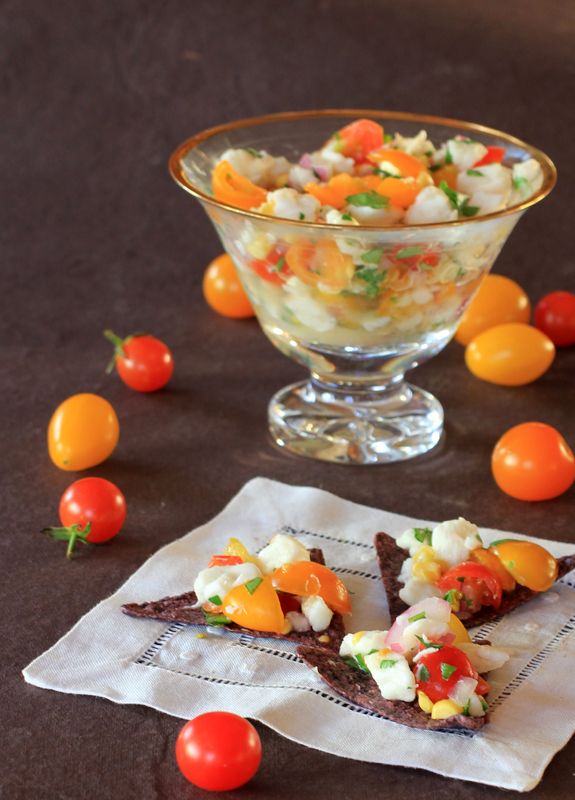 ceviche chips and tomatoes