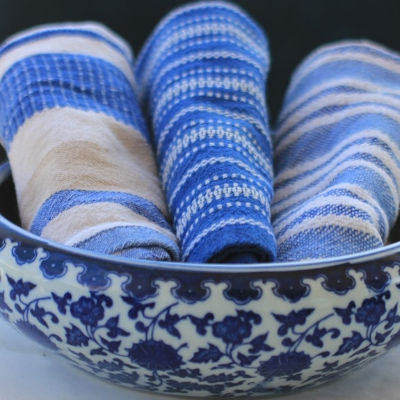 blue striped dishtowels