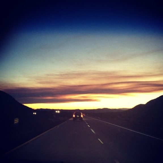 driving home from Las vegas at sunset