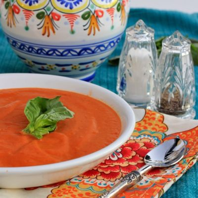 Healthy Cream of Tomato Soup. Pair it with grilled cheese sandwiches and apple slices sprinkled with cinnamon for a quick and nourishing weeknight meal!