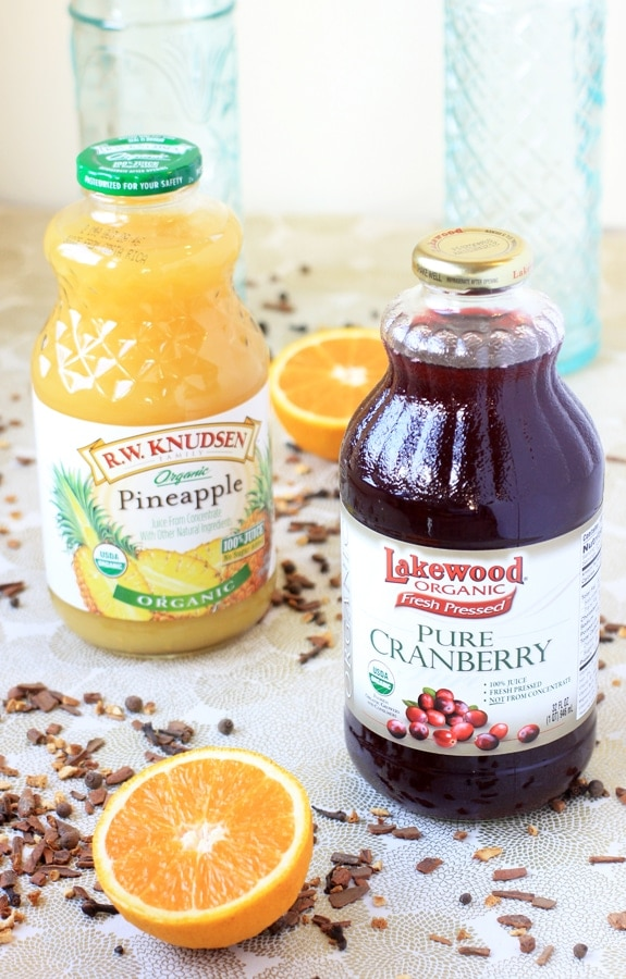 simple ingredients for hot spiced cranberry punch
