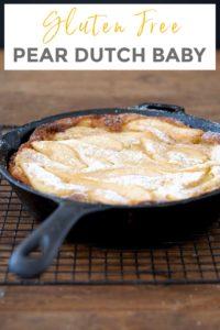 gluten free dutch baby pancake in a cast iron skillet