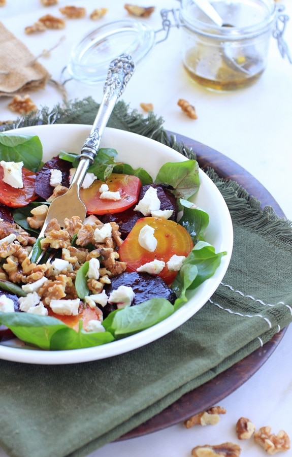 Roasted Beet Salad with Goat Cheese & Toasted Walnuts