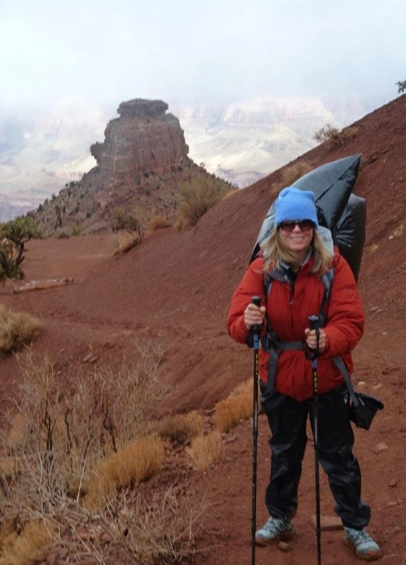 EA Stewart hiking in the Grand Canyon