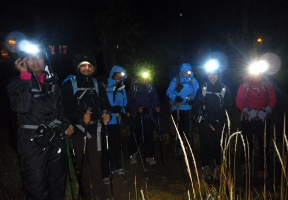 Getting ready to hike the Bright Angel Trail in the dark.