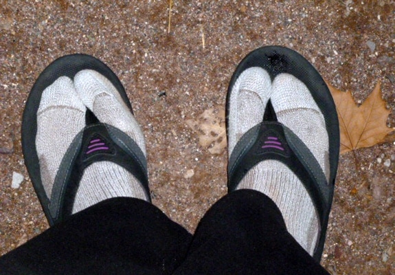 Flip flops and socks