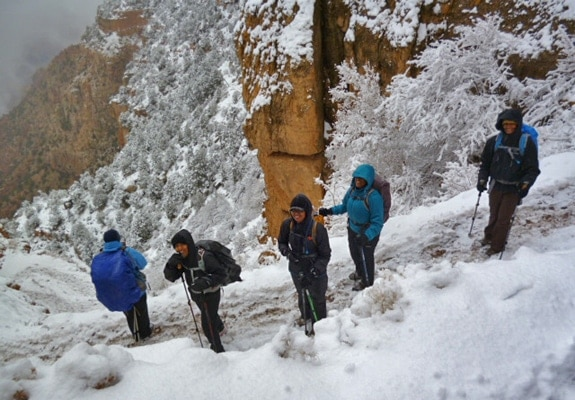 Hiking the S. Kaibab trail in the snow.