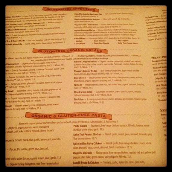 Gluten-Free Menu at Picazzo's