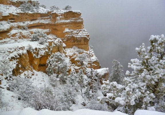 The Grand Canyon, South Kaibab Trail, covered in snow.