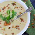 Creamy Cauliflower Soup w/ Pistachio Harissa Pesto//The Spicy RD #glutenfree #vegan