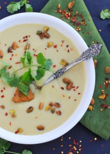 Creamy Vegan Cauliflower Soup with Pistachio Harissa Pesto