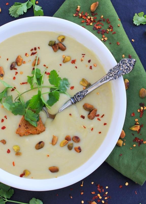 Creamy Cauliflower Soup with Pistachio Harissa Pesto