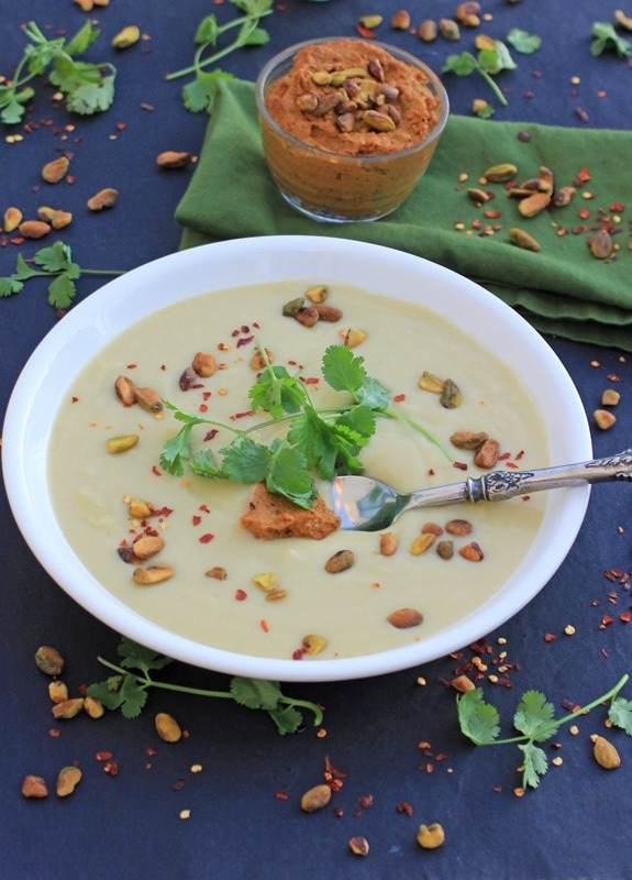Creamy Cauliflower Soup with Pistachio Harissa Pesto//The Spicy RD