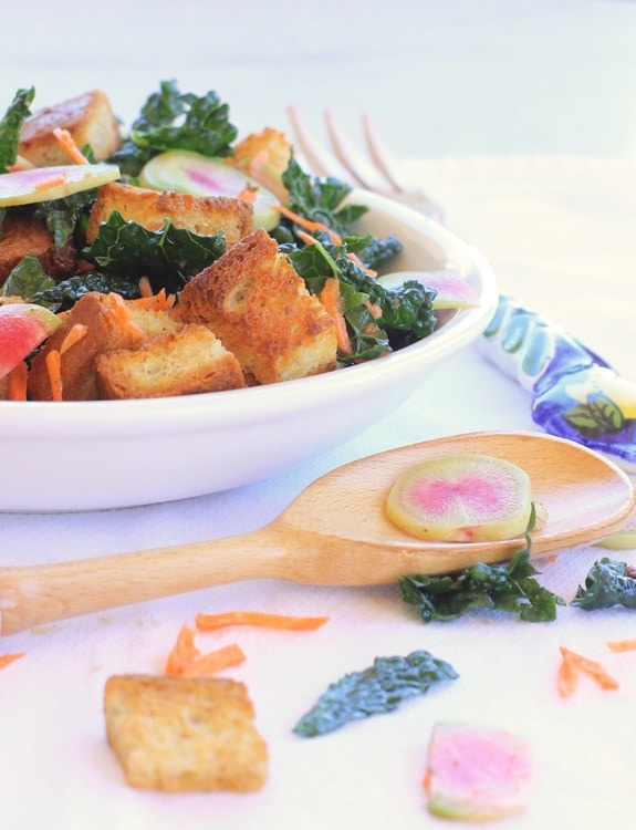 Winter Panzanella Salad with Kale, Carrots & Watermelon Radishes