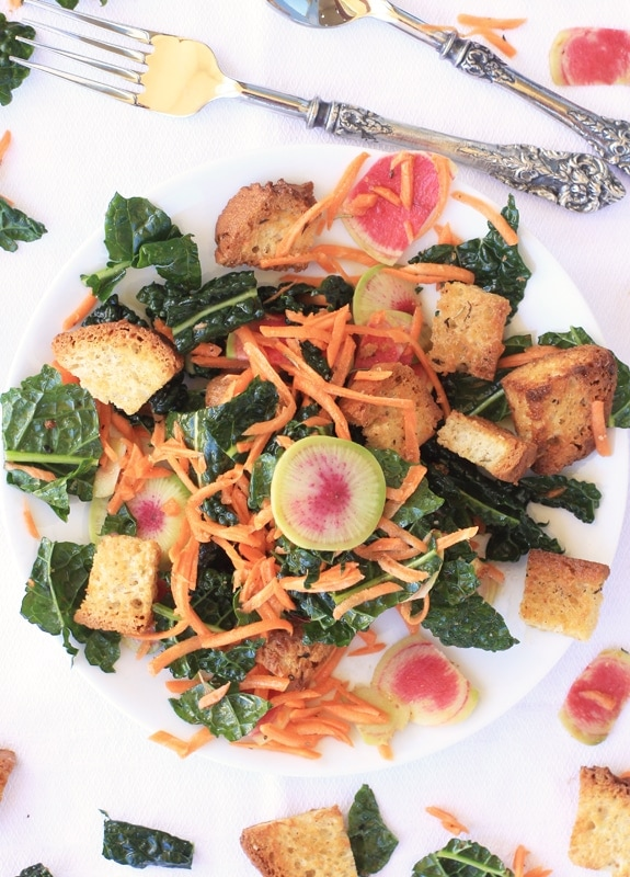 Winter Panzanella Salad with Kale, Carrots, & Watermelon Radishes//The Spicy RD